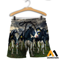 3D All Over Printed Dairy Cattle Shirts And Shorts / Xs Clothes