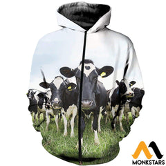3D All Over Printed Dairy Cattle Shirts And Shorts Zipped Hoodie / Xs Clothes