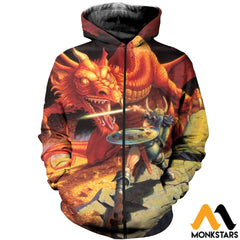 3D All Over Printed D&d Clothes Zipped Hoodie / Xs
