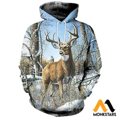 3D All Over Printed Deer And Snow Shirts Shorts Normal Hoodie / Xs Clothes