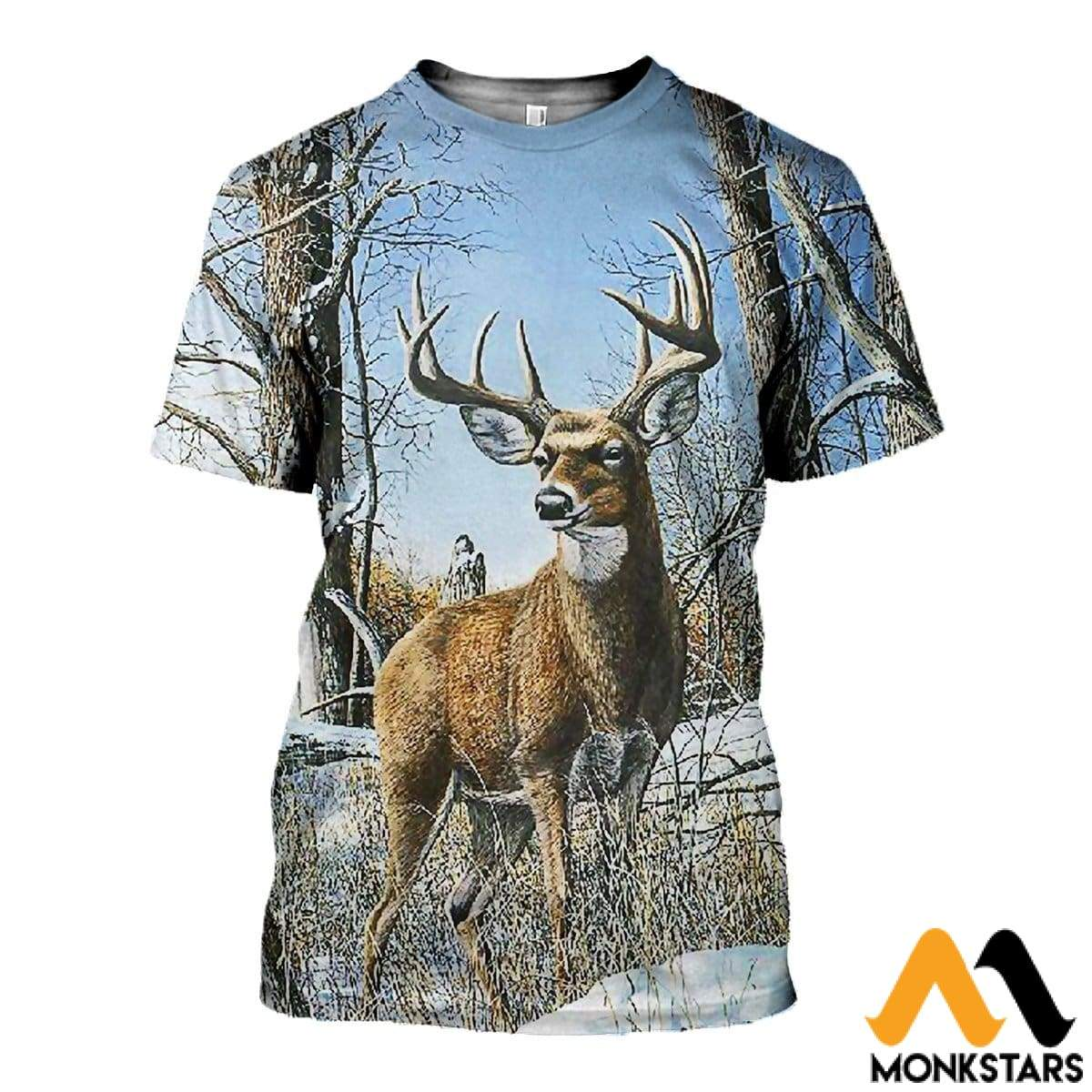 3D All Over Printed Deer And Snow Shirts Shorts T-Shirt / Xs Clothes