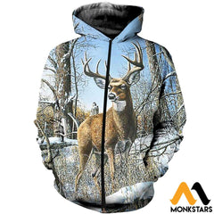 3D All Over Printed Deer And Snow Shirts Shorts Zipped Hoodie / Xs Clothes