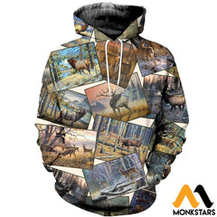 3D All Over Printed Deer Art Collection Shirts And Shorts Normal Hoodie / Xs Clothes
