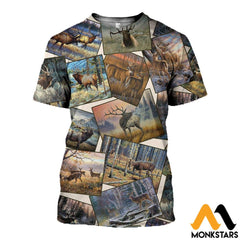 3D All Over Printed Deer Art Collection Shirts And Shorts T-Shirt / Xs Clothes