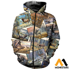 3D All Over Printed Deer Art Collection Shirts And Shorts Zipped Hoodie / Xs Clothes