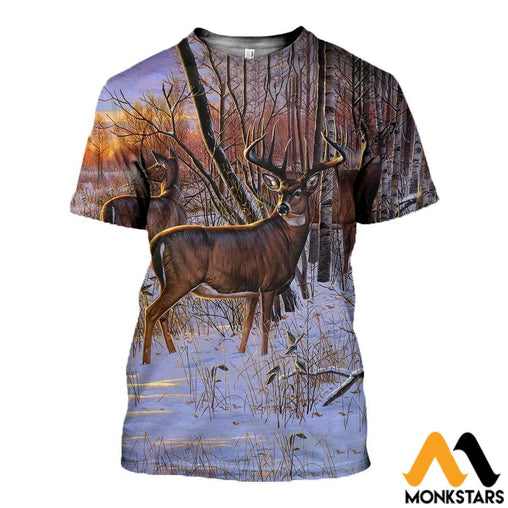 3D All Over Printed Deer Art Shirts And Shorts T-Shirt / Xs Clothes