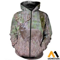 3D All Over Printed Deer Clothes Zipped Hoodie / Xs