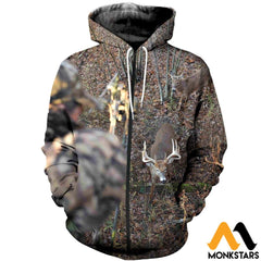 3D All Over Printed Deer For Love Clothes Zipped Hoodie / Xs