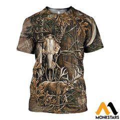 3D All Over Printed Deer Hunting Camo Clothes T-Shirt / Xs