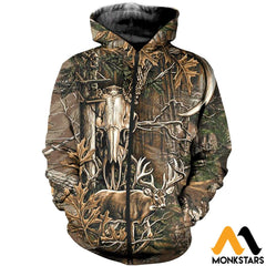 3D All Over Printed Deer Hunting Camo Clothes Zipped Hoodie / Xs