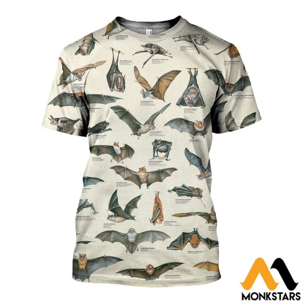 3D All Over Printed Different Types Of Bats Shirts And Shorts T-Shirt / Xs Clothes