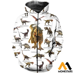 3D All Over Printed Dinosaurs Collection Shirts And Shorts Zipped Hoodie / Xs Clothes