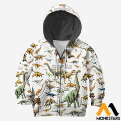 3D All Over Printed Dinosaurs Shirts And Shorts Zipped Hoodie / Toddler 2T Kid Clothes