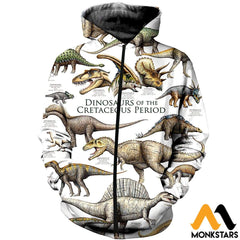 3D All Over Printed Dinosaurs Shirts And Shorts Zipped Hoodie / Xs Clothes