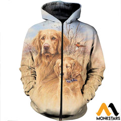 3D All Over Printed Dog Hunting Art Shirts And Shorts Zipped Hoodie / Xs Clothes