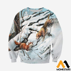 3D All Over Printed Dog Hunting & Fox Shirts And Shorts Long-Sleeved Shirt / Xs Clothes