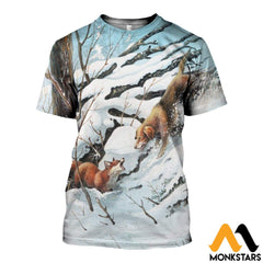3D All Over Printed Dog Hunting & Fox Shirts And Shorts T-Shirt / Xs Clothes