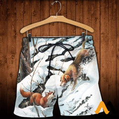 3D All Over Printed Dog Hunting & Fox Shirts And Shorts / Xs Clothes