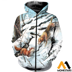 3D All Over Printed Dog Hunting & Fox Shirts And Shorts Zipped Hoodie / Xs Clothes
