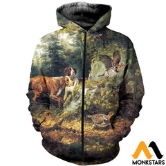 3D All Over Printed Dog Hunting & Grouse Shirts And Shorts Zipped Hoodie / Xs Clothes
