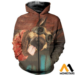 3D All Over Printed Dogmeat Clothes Zipped Hoodie / Xs