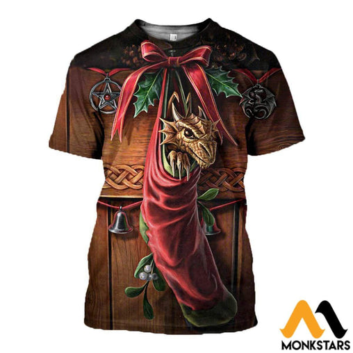 3D All Over Printed Dragon Christmas Clothes T-Shirt / Xs