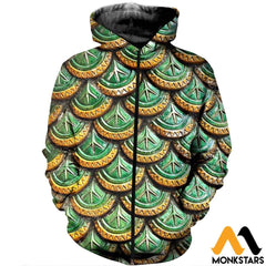 3D All Over Printed Dragon Scale Clothes Zipped Hoodie / Xs