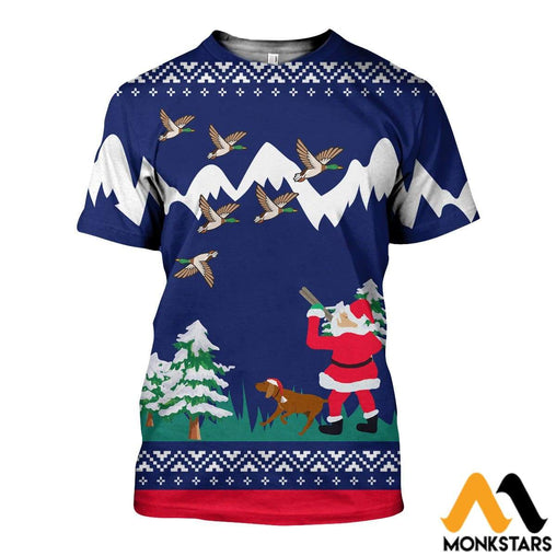 3D All Over Printed Duck Hunting Christmas Shirts And Shorts T-Shirt / Xs Clothes