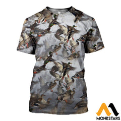 3D All Over Printed Duck Hunting Shirts And Shorts T-Shirt / Xs Clothes
