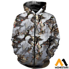 3D All Over Printed Duck Hunting Shirts And Shorts Zipped Hoodie / Xs Clothes