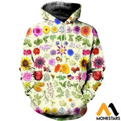 3D All Over Printed Edible Flower Garden Shirts And Shorts Normal Hoodie / Xs Clothes