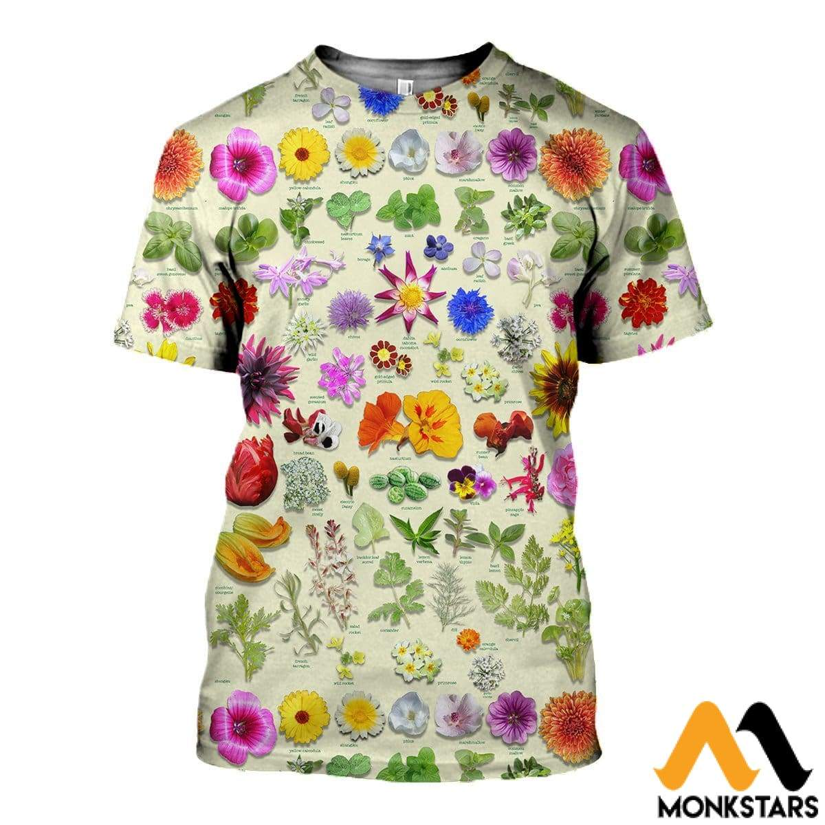 3D All Over Printed Edible Flower Garden Shirts And Shorts T-Shirt / Xs Clothes