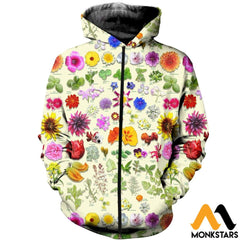 3D All Over Printed Edible Flower Garden Shirts And Shorts Zipped Hoodie / Xs Clothes