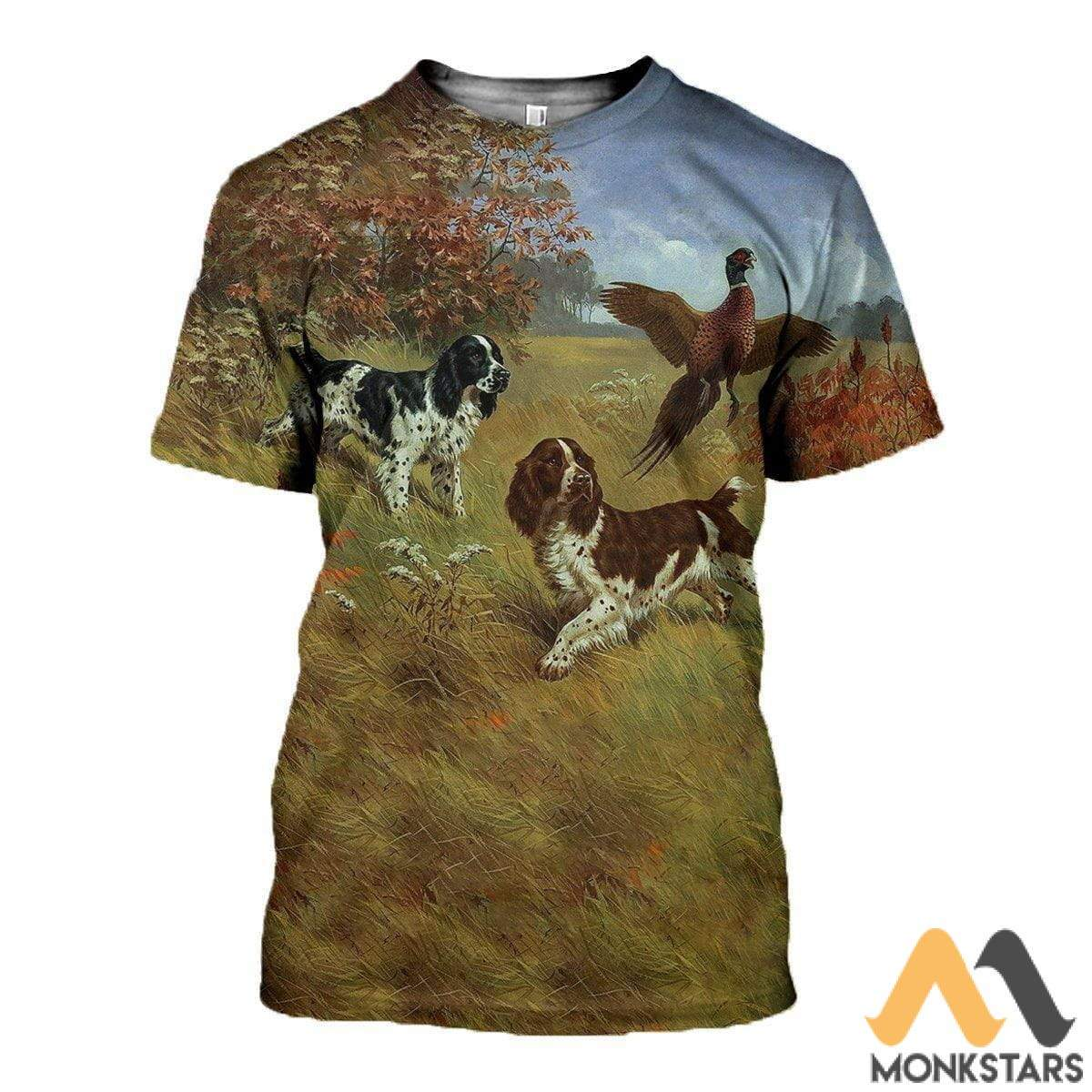 3D All Over Printed English Springer Spaniels Shirts And Shorts T-Shirt / S Clothes
