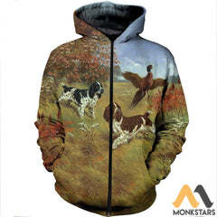 3D All Over Printed English Springer Spaniels Shirts And Shorts Zipped Hoodie / S Clothes