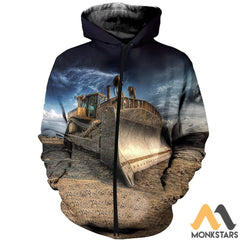3D All Over Printed Excavator Clothes Zipped Hoodie / S