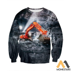 3D All Over Printed Excavator Shirts And Shorts Long-Sleeved Shirt / S Clothes