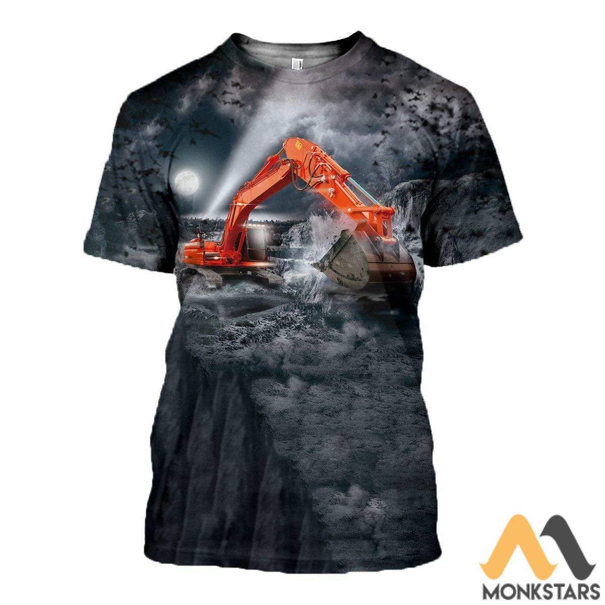 3D All Over Printed Excavator Shirts And Shorts T-Shirt / S Clothes