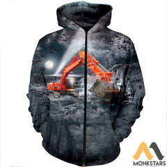 3D All Over Printed Excavator Shirts And Shorts Zipped Hoodie / S Clothes