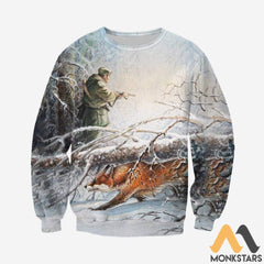 3D All Over Printed Fox Hunting And Snow Clothes Long-Sleeved Shirt / S