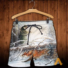 3D All Over Printed Fox Hunting And Snow Clothes Shorts / S