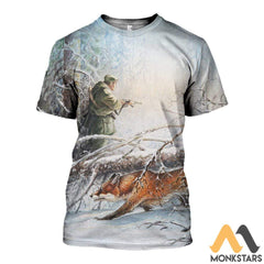 3D All Over Printed Fox Hunting And Snow Clothes T-Shirt / S