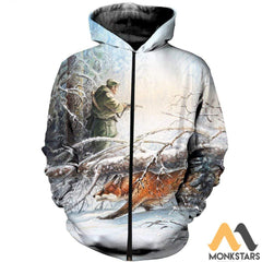 3D All Over Printed Fox Hunting And Snow Clothes Zipped Hoodie / S
