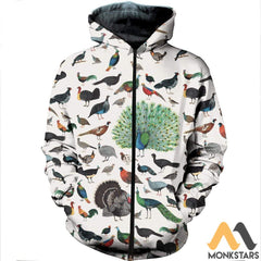 3D All Over Printed Galliformes Shirts And Shorts Zipped Hoodie / S Clothes