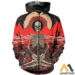 3D All Over Printed Hippie Shirts And Shorts Zipped Hoodie / S Clothes