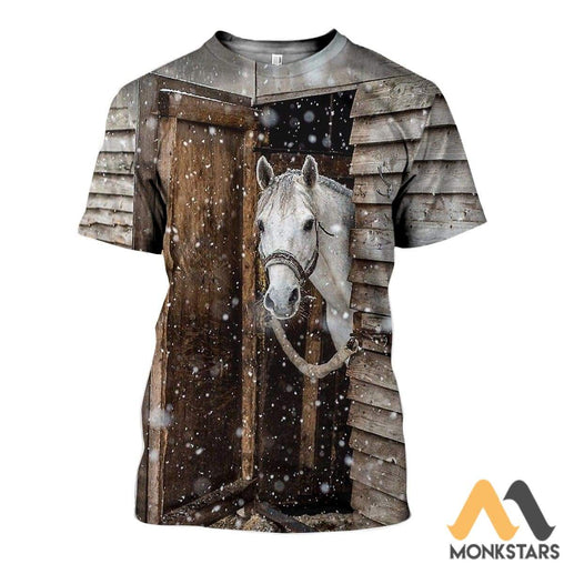 3D All Over Printed Horse Christmas Shirts And Shorts T-Shirt / Xs Clothes