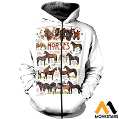 3D All Over Printed Horses Collection Shirts And Shorts Zipped Hoodie / Xs Clothes