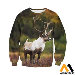 3D All Over Printed Huge Reindeer Clothes Long-Sleeved Shirt / Xs