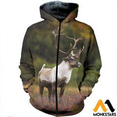 3D All Over Printed Huge Reindeer Clothes Zipped Hoodie / Xs