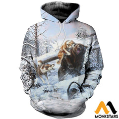 3D All Over Printed Hunting Bears In Winter Shirts And Shorts Normal Hoodie / Xs Clothes